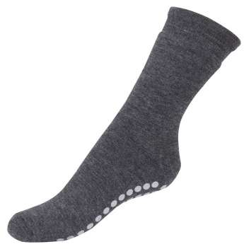 Socks with anti slip, wool, grey (36-40)
