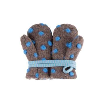 Mittens, wool/cotton, brown and blue (0-4 years)