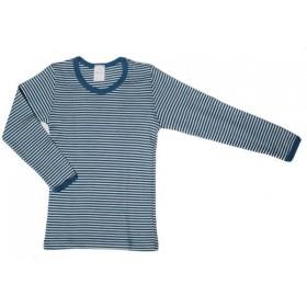 Shirt lange mouw, wol/zijde, petrol streep (92-164)