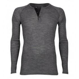 Shirt lange mouw met knoopjes, wol, donkergrijs (4-8)