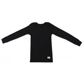 Shirt lange mouw, wol, zwart (122-152)