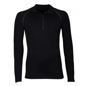 Shirt lange mouw met rits, wol, zwart (4-8)