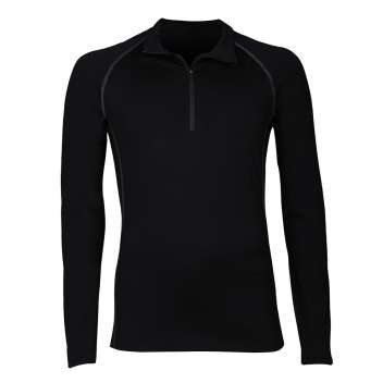 Shirt long sleeved with zipper, wool, black (4-8)