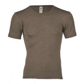 Shirt korte mouw, wol/zijde, walnoot (46-56)