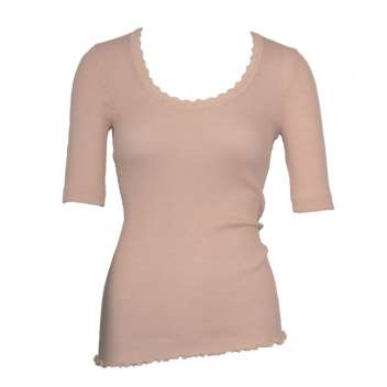 Shirt short sleeved with lace, wool/silk, pearl (S-XL)