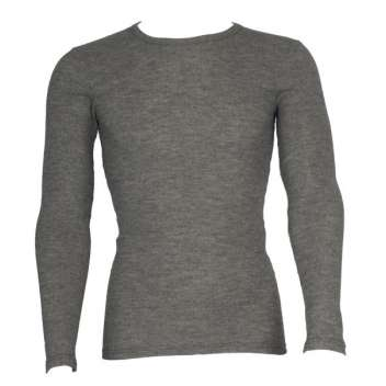Shirt long sleeved, wool/silk/cotton, grey (S-XL)
