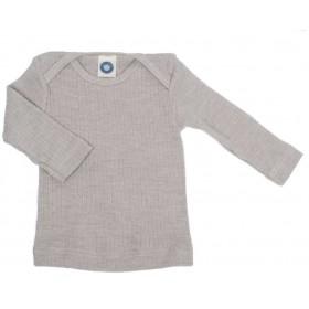 Shirt lange mouw, wol/zijde/katoen, zilvergrijs (50-80)