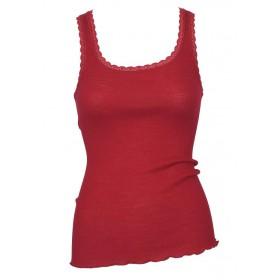 Hemd, wol/zijde met kantje, rood (XS-L)