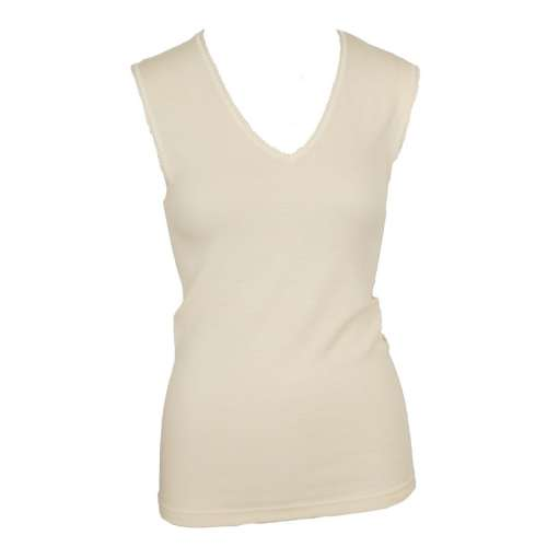 Undershirt, wool with v-neck, natural (36-46)