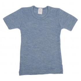 Vest short sleeved, wool/silk, jeans blue (92-164