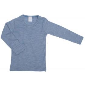 Shirt lange mouw, wol/zijde, jeansblauw (92-164)