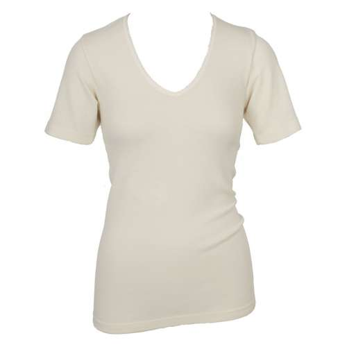Shirt korte mouw, wol, naturel (36-46)