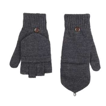 Gloves or mittens, wool, anthracite (8-9)