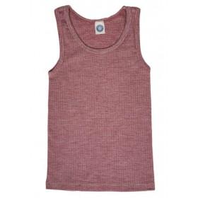 Undershirt, wool/cotton/silk, wine red (104-152)