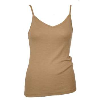 Undervest with spaghetti straps, wool/silk, biscuit (36-44)