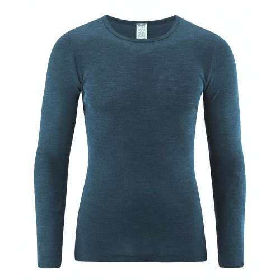 Shirt lange mouw, merinowol/zijde, petrol (5-8)