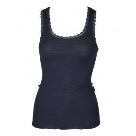 Hemd, wol/zijde met kantje, nachtblauw (XS-L)