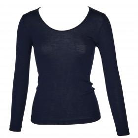 Shirt lange mouw, wol/zijde, nachtblauw (XS-XXL)