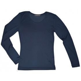 Shirt lange mouw, biologische zijde, marine (S-XXL)