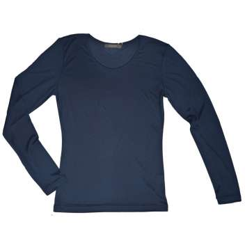 Shirt long sleeved, organic silk, navy (S-XXL)