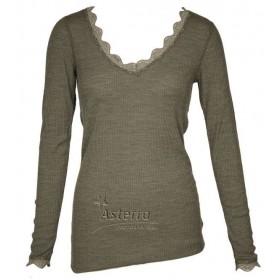 Shirt lange mouw, wol/zijde, olijfgroen (XS-XL)