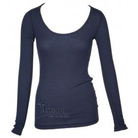 Shirt lange mouw, wol, blauw (XS-2XL)