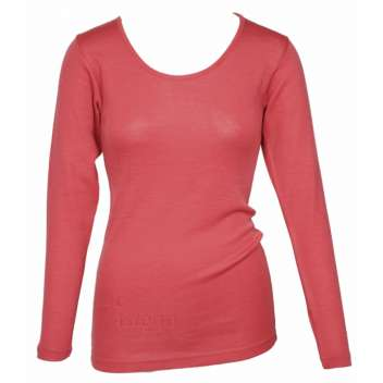 Shirt long sleeved, wool/silk, coral (XS-L)