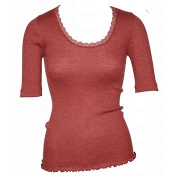 Shirt short sleeved with lace, wool/silk, cinnamon (S-XL)