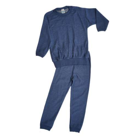 Pyjama, wol, blauw (98-140)