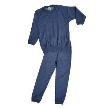 Pyjamas, wool, blue (98-140)