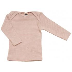 Shirt lange mouw, wol/zijde/katoen, rose cloud (50-80)