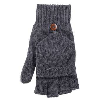 Gloves or mittens, wool, anthracite (7-9)