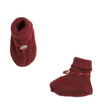 booties, wool fleece, red (60-90)