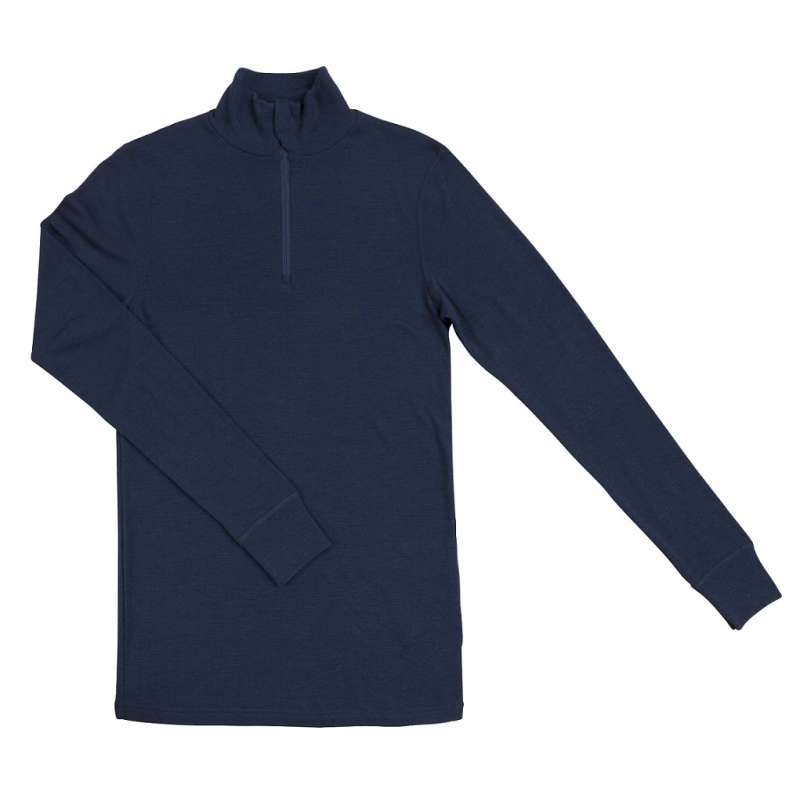 Shirt long sleeved with zipper, wool, blue (XS-XXL)