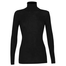 Shirt lange mouw met kol, wol, zwart (36-46)