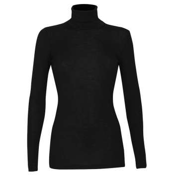 Shirt long sleeved with turtleneck, wool, black (36-46)
