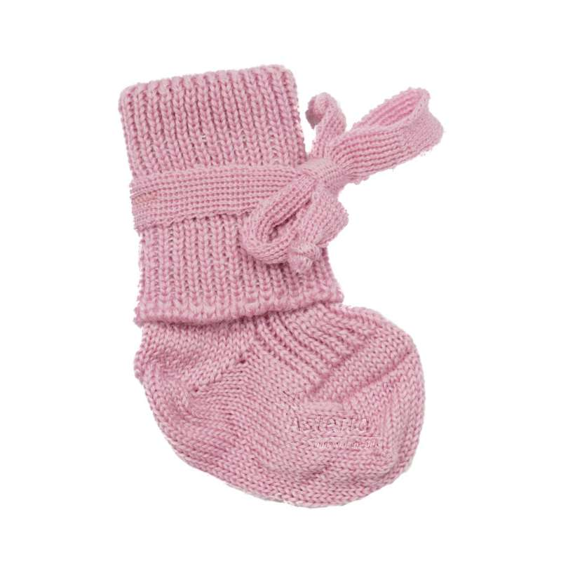 New born socks, wool, pink