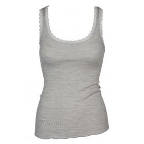 Hemd, wol/zijde met kantje, grijs (XS-L)