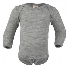 Romper lange mouw, wol/zijde, grijs (50-104)