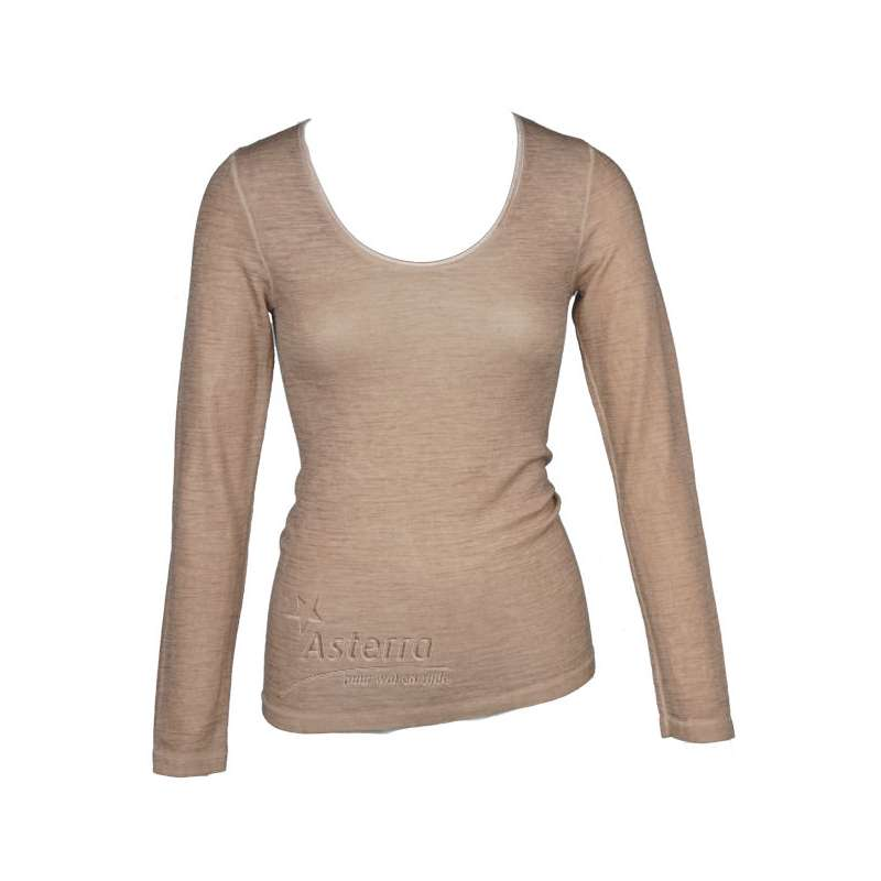 Shirt long sleeved, wool/silk, cacao (XS-L)