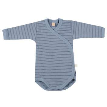 Wrap around body long sleeved, wool, blue striped (56)