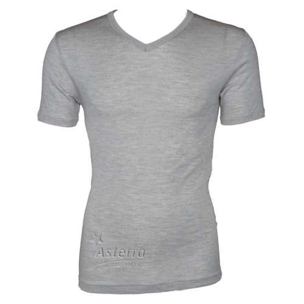 Shirt korte mouw, wol/zijde, grijs (S-XXL)