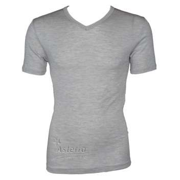 Shirt short sleeved, wool/silk, grey (S-XXL)