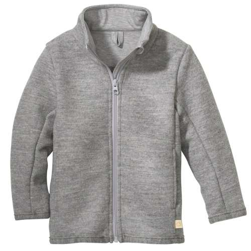 Cardigan, boiled merino wool, pebble grey (98-128)