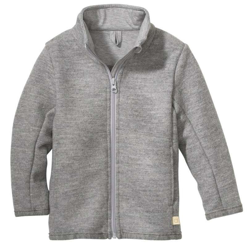 Cardigan, boiled merino wool, light grey (98-128)