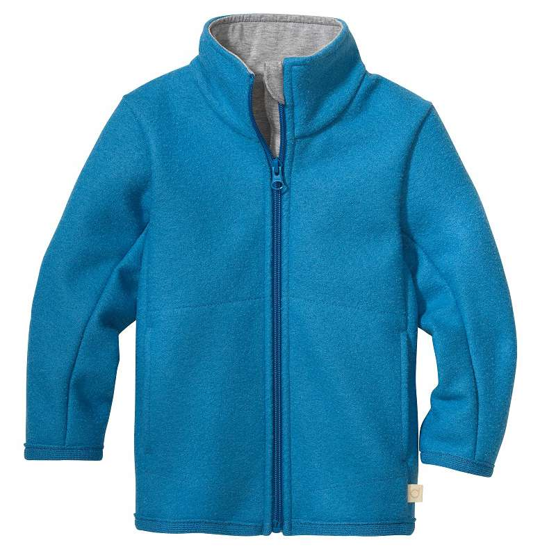Cardigan, boiled merino wool, blue jay (98-128)