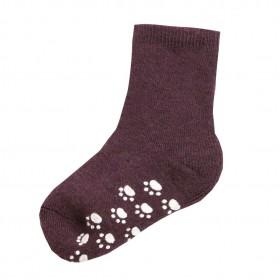Socks with anti slip, wool, mauve wine (15-30)