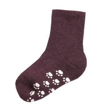 Socks with anti slip, wool, mauve wine (15-30)