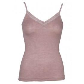 Hemd met spaghettibandjes, wol/zijde met kantje, nostalgia rose (S-XL)