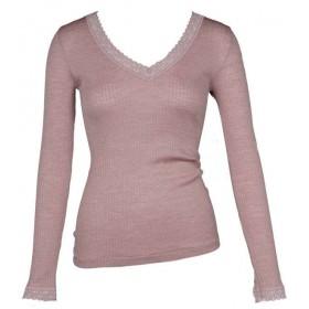 Shirt lange mouw, wol/zijde, nostalgia rose XS-XL)